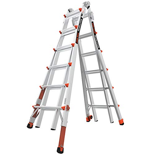 Little Giant Ladder Systems 12026-801 Revolution M26 with Ratcheting Levelers,Aluminum/Orange