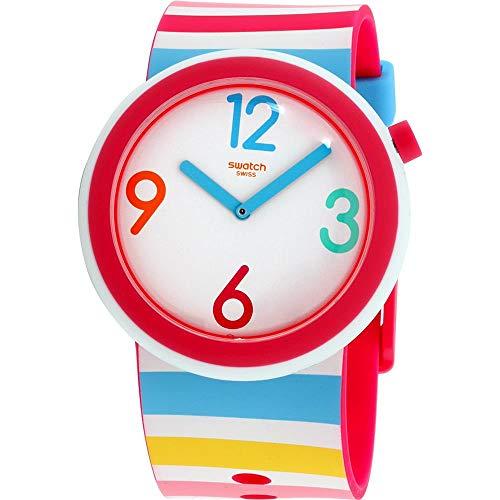 Swatch Originals Riminipop PNW106 - Reloj Unisex con Correa de Silicona, Esfera Blanca
