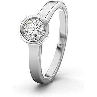 21DIAMONDS Women's Ring Praia SI20.4ct Brilliant Cut Diamond Engagement Ring-Silver Engagement Ring Silber mit Diamant SI2