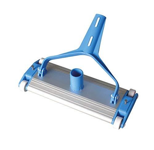 SIQUA Limpiafondos de Aluminio para Piscinas con Cuatro Ruedas y Cepillo de Arrastre.Conexión a Manguera de aspiración de Ø38 mm.Longitud 35 cm