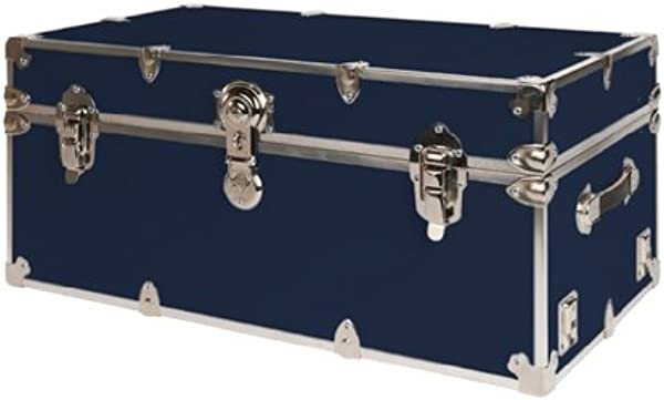 SecureOnCampus College Dorm Storage Trunks Footlockers Small Navy Blue