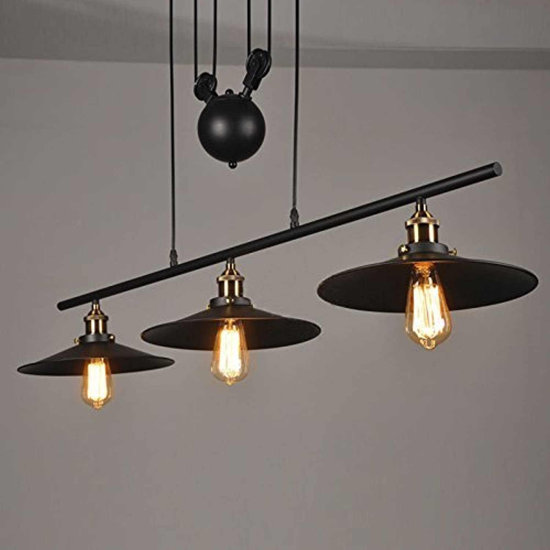JU Suspension 3 Lichter mit Eisen Flaschenzug Effekt Retro schwarz B07G76L84L   Ausgezeichnete Leistung