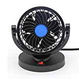 12V Car Fans Auto Cooling Fan Low Noise 360 Degree Rotating Adjustable One Speed Rotatable Electric Car Fans for Car Truck Boat