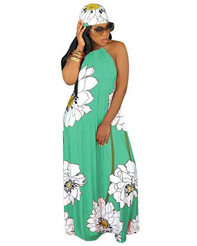 Women Sexy Floral Maxi Dresses- Summer Halter Backless Long Beach Dress