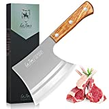 LA TIM'S Meat Cleaver Knife, 2 lb Heavy Duty Cleaver with Hand Forged High Carbon Steel, Butcher Knife for Chopping Bones, Solid Wood Handle