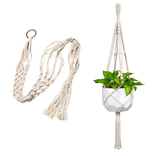 StyleZ Handmade Macrame Plant Hanger Hanging Basket Pot Planter Braided Cotton Rope with 4 Legs
