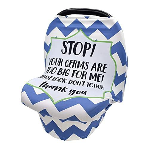 Monland Funda de Lactancia para Bebé, Capota para Asiento de Coche para Bebé, Sin SeeAl de Contacto Funda para Cochecito Infantil Funda Suave y EláStica para Lactancia, Azul