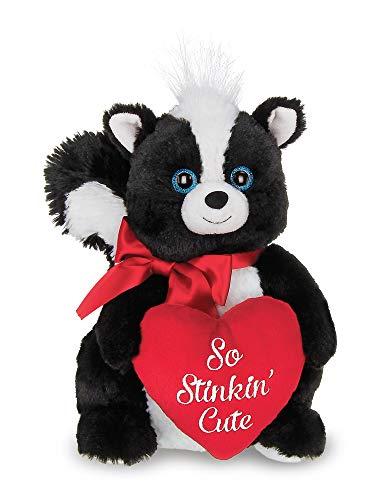 Bearington Romeo Valentines Plush Stuffed Animal Skunk with Heart, 10 inches