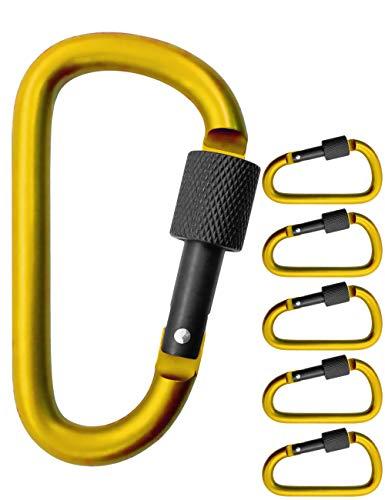 Outdoor Saxx® - Lot de 5 grands mousquetons à vis, mousquetons pour fixation d'équipement, aluminium, 8 cm, jaune, noir, lot de 5.