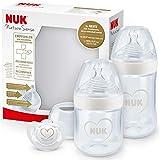 NUK Nature Sense kit de biberones de iniciación, 0-18 meses, 2 biberones anticólico y chupete Genius, Sin BPA, Gris y blanco, 4 unidades