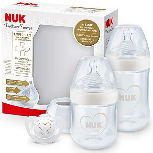 NUK Nature Sense set de biberons | 0-18mois | 2biberons anti-coliques et 1tétine Genius | Sans BPA | blanc (cœur) | 3unités