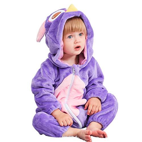 MICHLEY Baby Spielanzug Schlafanzug Flanell Frühling Strampler Pyjama kostüm Bekleidung Karikatur Tier Jumpsuit für mädchen und Junge(Lila 90)