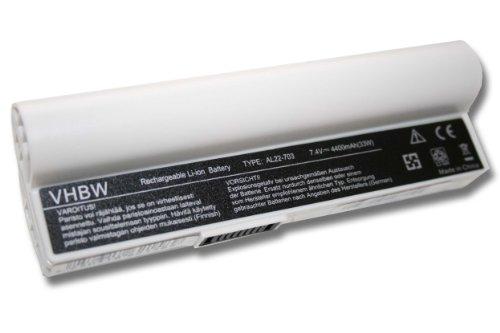 vhbw Batterie LI-ION 4400mAh 7.4V Blanc Compatible pour ASUS EEE PC 900a / 900HA / 900HD remplace AL22-703