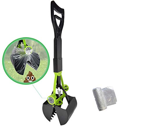 Hygena Scoop Jaw Pooper Scooper with Bag Grabbers - purchase comes with Poop Bags - Clean Pick ups for Grass, Gravel, and Cement for Medium Small Large Dog