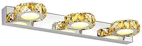 QTWW Applique Murale Moderne à LED 9 W pour Miroir de Salle de Bain Miroir rectangulaire à 3 têtes en Cristal et Acrylique IP44 Blanc Chaud 46 cm 630 LM [Classe énergétique A ++]