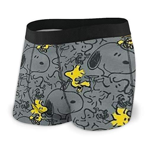 Cartoon Snoopy Herren Boxershorts Unterhose Bedruckte Baumwolle Unterwäsche Elastisch Atmungsaktiv und Bequem Viele Größen XL Schwarz