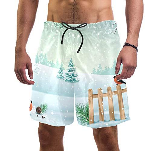 Eslifey Navidad invierno valla nieve cubierto Hills pájaro Bullfinch Swim troncos elásticos traje de baño pantalones cortos para hombres