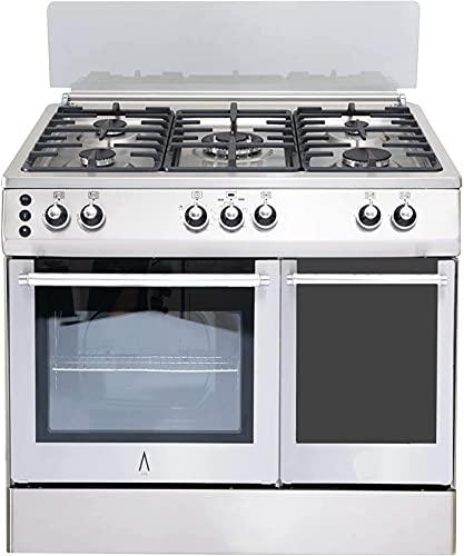 ALPHA Cocina de Gas VULCANO LUX-90PB Inox, Portabombonas, Parrillas Fundición, Ventilador, Doble Rustidor, Corte de Gas Seguro y Temporizador en Horno. **ALTA GAMA**
