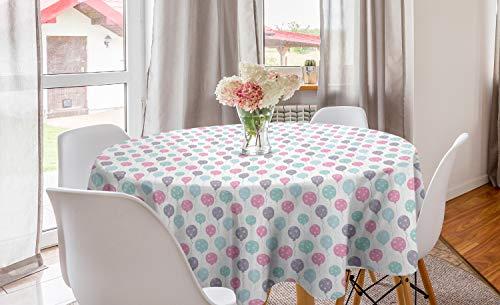 ABAKUHAUS Verjaardagsfeest Rond Tafelkleed, Ballonnen met Hearts, Decoratie voor Eetkamer Keuken, 150 cm, Veelkleurig