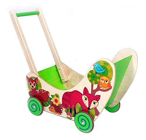 Hess Holzspielzeug 31169 - Puppenwagen aus Holz, Serie Waldtiere, handgefertigt, mit Gummibereifung, für Kinder ab 12 Monaten, ca. 54 x 8,5 x 38,8 cm, für den Spaziergang mit Puppe und Teddy