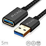 5m Cable alargador USB 3.0 de Nylon, Negro, Chapado en Oro, Cable Extension USB, Tipo A Macho a Tipo A Hembra, Elegantes enchufes de Aluminio y Velcro para el Cable