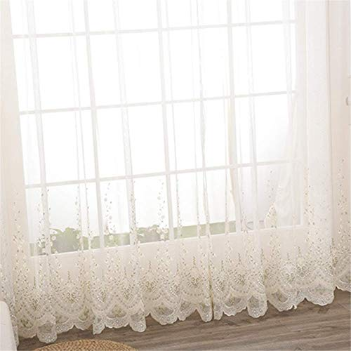 YK DRAPES White Sheer Curtain, Polyester Ruching Tape Curtain for Office Kids Room Bedroom Living Room 2pcs,W140H230cm