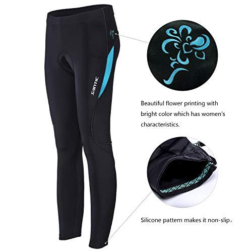 Santic Fahrradhose Damen Gepolstert Lang Radhose Damen Lang Radlerhose Damen Gepolstert auch für MTB Blau EU M - 3