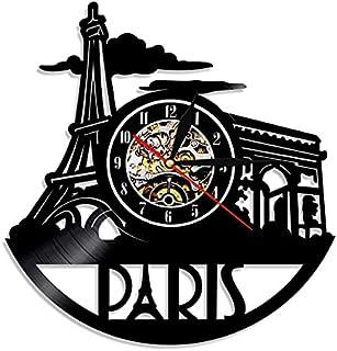 GJHK Creative Vinyle Record d'horloge Murale de 12 Pouces, Silhouette de Ville, Horloge Murale décorative de l'horloge Nos...