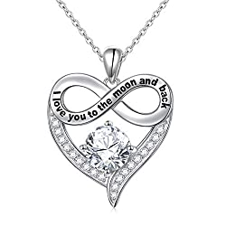 Infinity Heart Necklace Sterling Silver Pendant Necklace