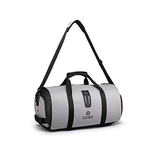 HHH Bolsa de Almacenamiento de Traje Plegable Bolsa de Gimnasio Bolsa de Viaje de Negocios con Compartimento para Zapatos Bolsa de Viaje Impermeable y Duradera 4 Usos,Gray