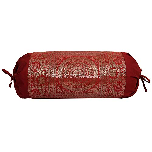 DK Homewares Indian Tradicional Casa Decoración 76 X 38 Cm Funda De Cojín De Tubo Seda Brocado Jacquard Floral Mandala Cilíndrico Funda De Cojín Cervical (Granate ; 30 X 15 Pulgadas) -1 Pc