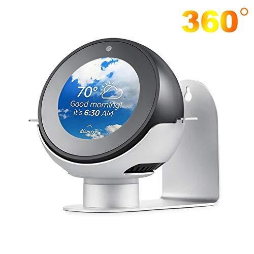 QKa Einstellbarer Ständer für Echo Spot, 360-Grad-drehbarer Aluminium-Wandhalter, Amazon Smart-Lautsprecherzubehör (Echo Spot ist Nicht im Lieferumfang enthalten),Silber