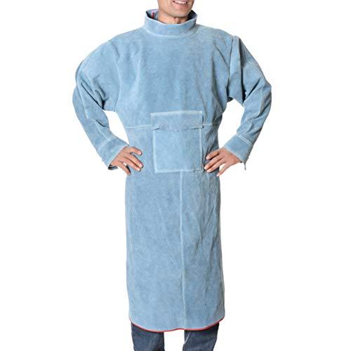 ATGTAOS rundleer schort met lange mouwen hoge kraag lassen beschermende kleding slijtvast en hoge temperatuur bestendig werk kleding