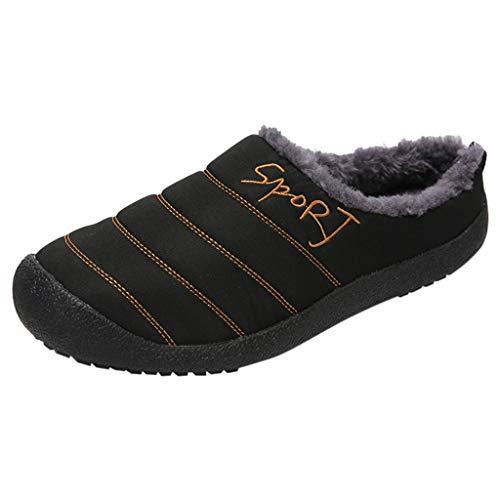 Hausschuhe Herren Large Size Casual Home Plus Samt Warme Schuhe Bequeme Baumwolle (47 EU,Herren-Schwarz)