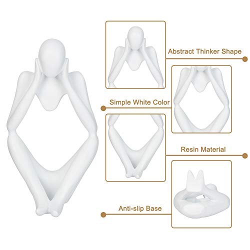 Creproly Thinker Statue Resin Sculpture Figurines Art White Abstract Sculptures Thinker Man Statue Home Office Table Desk Bookshelf Decor (Focus)
