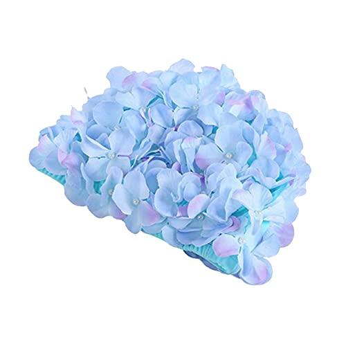 ChYoung Gorro de natación para mujer, diseño de pétalo floral vintage, gorro de baño elástico de moda para cabello largo/corto