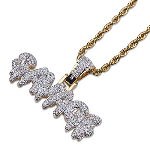 Naomi SAVAGE Bubble Letters Combine Pendant Necklace Hip Hop Men's Trendy Jewelry Gold Silver Rope Chain Tennis Chain multi-color 24 in