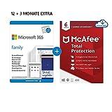 Microsoft 365 Family 12+3 Monate Abonnement | 6 Nutzer | Mehrere PCs/Macs, Tablets/mobile Geräte |...