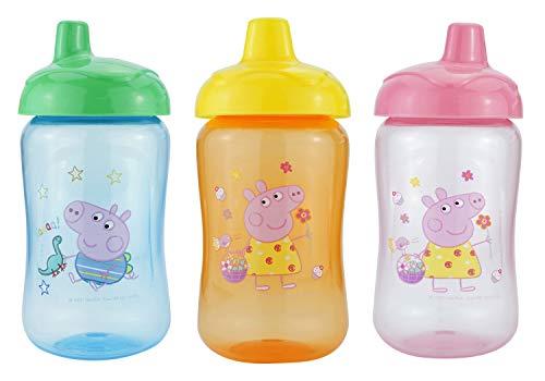 HOVUK® Peppa - Juego de 3 vasos de chupete (azul, naranja, rosa) de plástico libre de BPA con estampado de personajes infantiles Peppa utilizables para niños unisex de 6 meses +