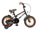 Amigo Firefighter - Bicicletta per bambini 12 pollici - Per Bambino di 3-4 Anni - Freno a mano, Freno a contropedale, Campanello per Bicicletta e Ruote di Supporto per Bambini - Nero