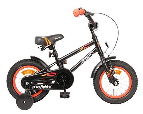 AMIGO Firefighter Kinderfahrräder Jungen 12 Zoll 17 cm Jungen Rücktrittbremse Schwarz