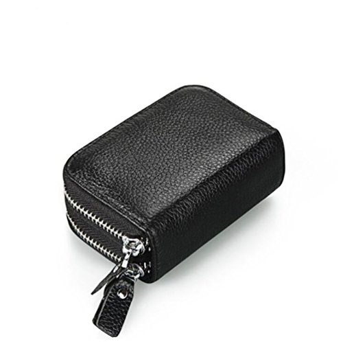 AprinCtempsD RFID Cartera Tarjeteros Piel Genuino Monedero Pequeñas Portatarjetas Mini Cremallera para Mujer Hombre (Negro)