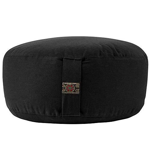 Yamkas Meditation Cushion Cotton (Black, 33 x 12 cm)