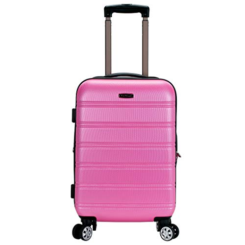 Rockland Melbourne Hardside Expandable Spinner Wheel Luggage, Pink, Carry-On 20-Inch
