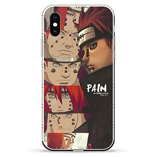 GJGSWY Case for Apple iPhone XS MAX, Naruto-Akatsuki Members Sect Cloud 7 Clear Silikon Coque Print Soft Shockproof Slim Soft TPU + Matte PC Back Phone Case