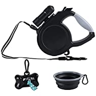 8M Retractable Dog Lead, Extending Leash with LED Flashlight, One Button Brake & Lock, Reflective Ny...