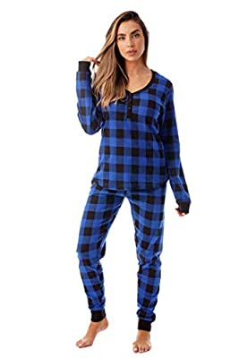 #followme Buffalo Plaid 2 Piece Base Layer Thermal Underwear Set for Women 6372-10195-NEW-ROY-M