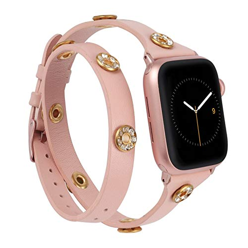 Moolia Double Wrap Band Compatible with Apple Watch Bands 44mm 42mm Women, Slim Leather Double Tour iWatch Bands with Bling Studs Straps Bracelet for Apple Watch Band Series 6 SE 5 4 3 2 1, Pink