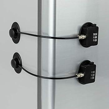 2 Pack Refrigerator Lock Combination Coded Fridge Lock Freezer Child Safety Lock Door Lock with Strong Adhesive No Keys Needed
