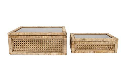 Creative Co-Op Woven Rattan Glass Lids & Fir Wood Frame (Set of 2 Sizes) Display Boxes, Beige